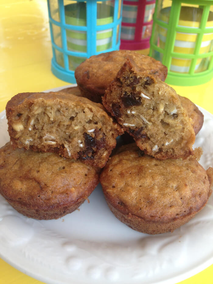 Muffins avoine, érable et raisins sans gluten, oeufs, arachides