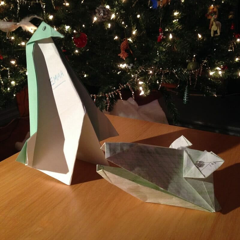 Manchot et crocodile en origami