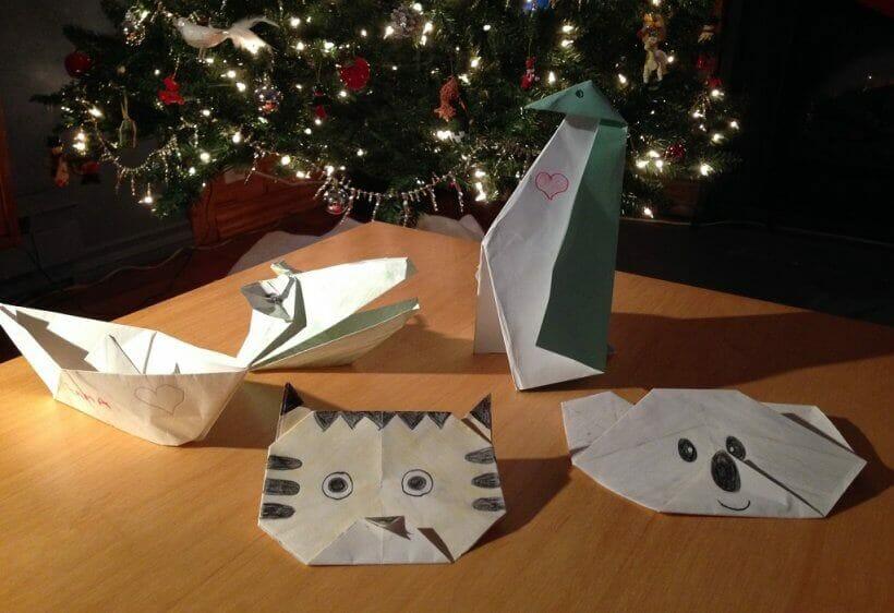 Quelques origamis faits par le lutin