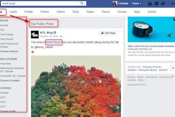 Capture d'écran - Recherche Facebook en anglais
