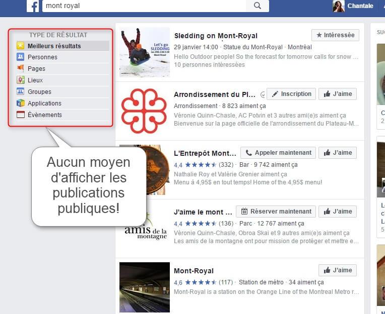 Capture d'écran - Recherche Facebook en français