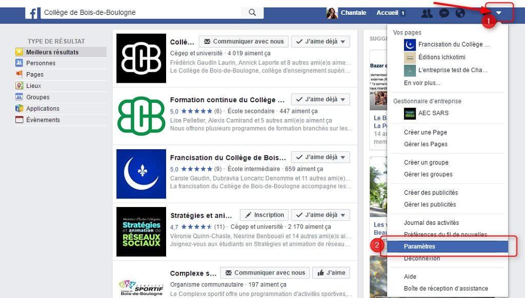 Capture d'écran - Paramètres de langue de Facebook