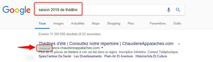 Exemple d'annonce dans Google Ads