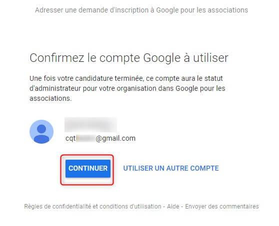 Demander à rejoindre Google pour les associations