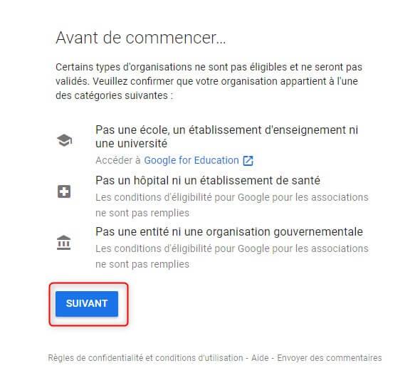 Confirmer à Google que votre OBNL n'est pas une école, un hôpital ou une entité gouvernementale