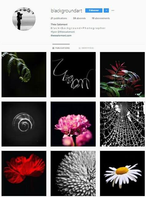 Exemple de grille Instagram - blackgroundart