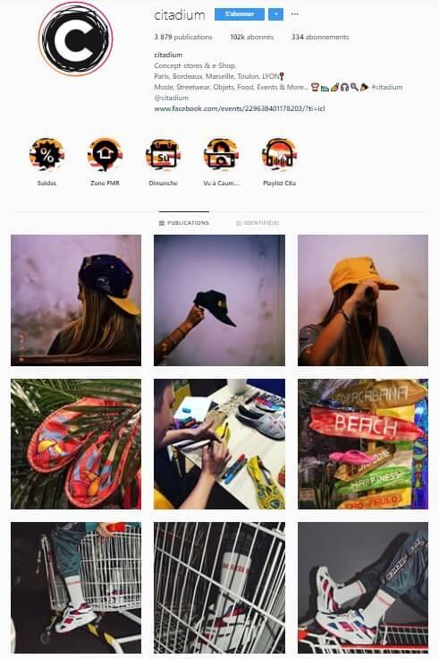 Exemple de grille Instagram - citadium