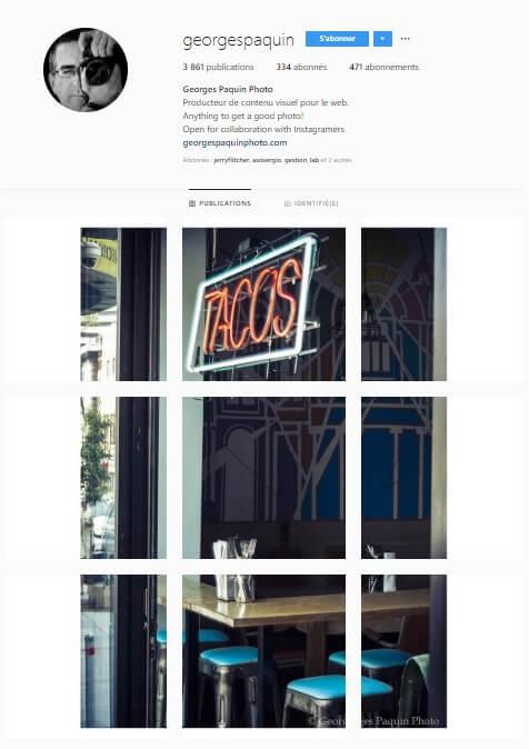 Exemple de grille Instagram - georgespaquin