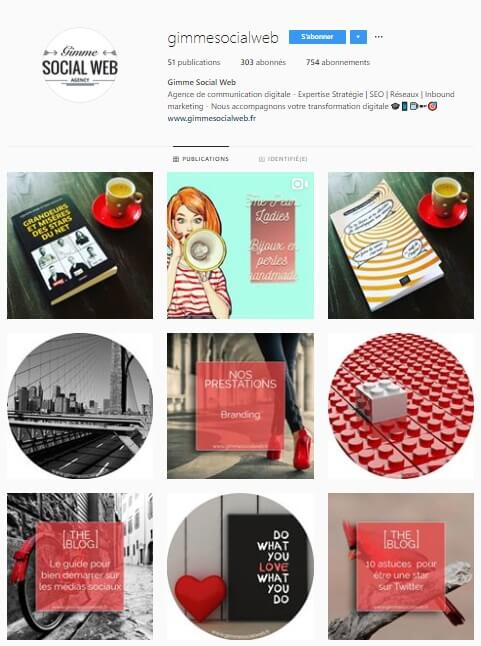 Exemple de grille Instagram - gimmesocialweb