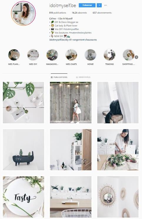 Exemple de grille Instagram - idoitmyself.be