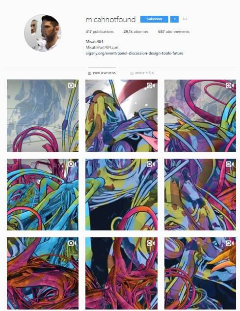 Exemple de grille Instagram - micahnotfound