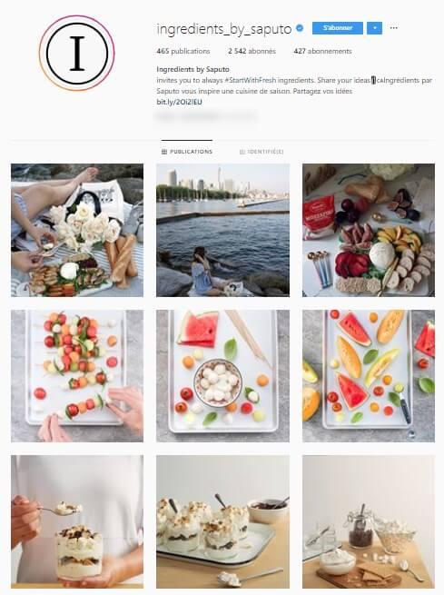 Exemple de grille Instagram - ingredients_by_saputo