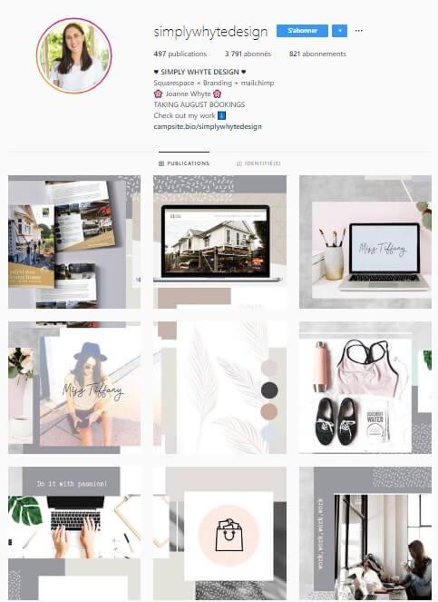 Exemple de grille Instagram - simplywhytedesign